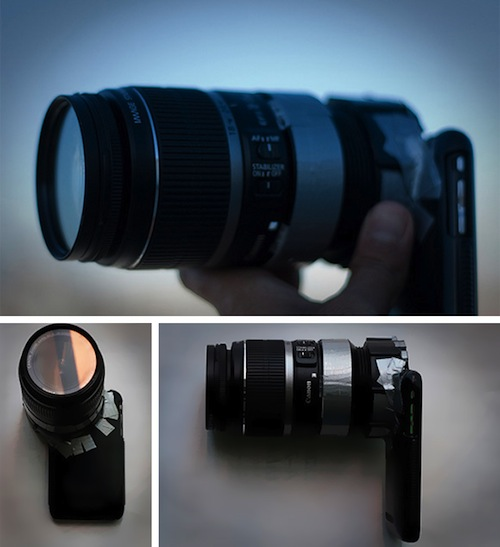 Attaching SLR lenses to an iPhone with the